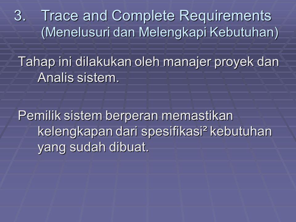 3.Trace and Complete Requirements (Menelusuri dan Melengkapi Kebutuhan) Tahap ini dilakukan oleh manajer proyek dan Analis sistem. Pemilik sistem berp