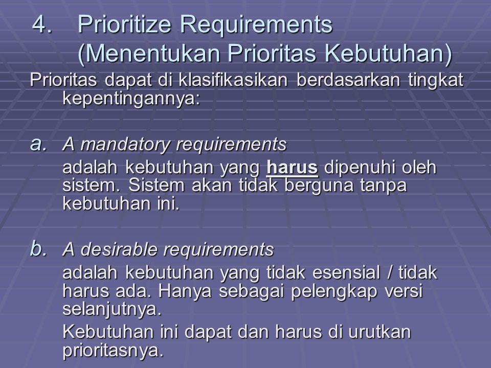 4.Prioritize Requirements (Menentukan Prioritas Kebutuhan) Prioritas dapat di klasifikasikan berdasarkan tingkat kepentingannya: a. A mandatory requir