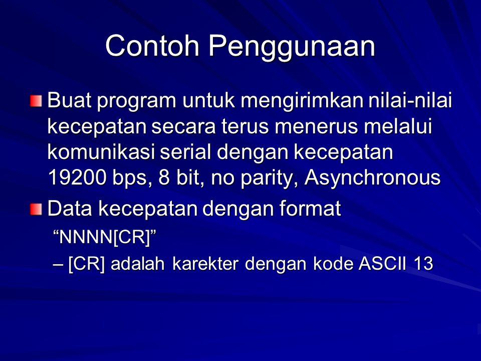Contoh Penggunaan Buat program untuk mengirimkan nilai-nilai kecepatan secara terus menerus melalui komunikasi serial dengan kecepatan 19200 bps, 8 bi