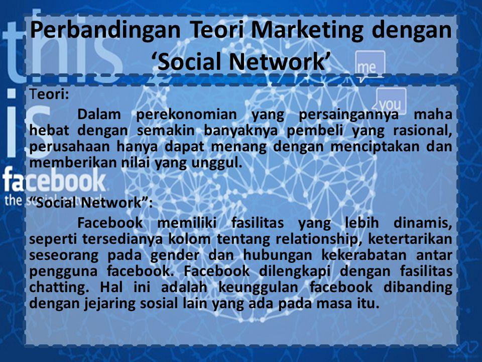 Perbandingan Teori Marketing dengan 'Social Network' Teori: Dalam perekonomian yang persaingannya maha hebat dengan semakin banyaknya pembeli yang rasional, perusahaan hanya dapat menang dengan menciptakan dan memberikan nilai yang unggul.
