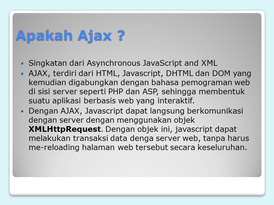 Apakah Ajax ? Singkatan dari Asynchronous JavaScript and XML AJAX, terdiri dari HTML, Javascript, DHTML dan DOM yang kemudian digabungkan dengan bahas