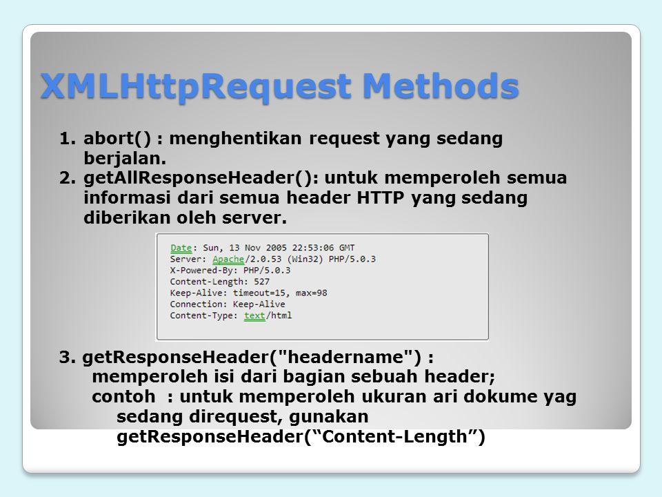 XMLHttpRequest Methods 1.abort() : menghentikan request yang sedang berjalan. 2.getAllResponseHeader(): untuk memperoleh semua informasi dari semua he