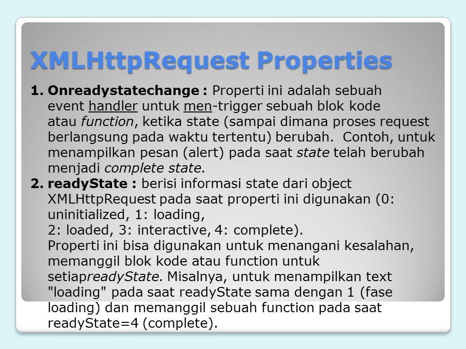 XMLHttpRequest Properties 1.Onreadystatechange : Properti ini adalah sebuah event handler untuk men-trigger sebuah blok kode atau function, ketika sta
