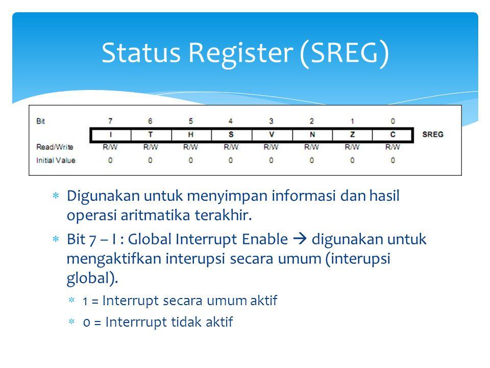  Digunakan untuk menyimpan informasi dan hasil operasi aritmatika terakhir.