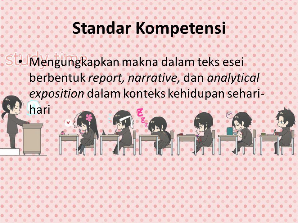 Standar Kompetensi Mengungkapkan makna dalam teks esei berbentuk report, narrative, dan analytical exposition dalam konteks kehidupan sehari- hari