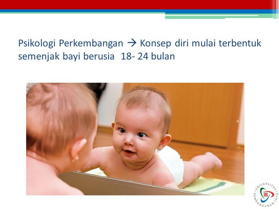 Psikologi Perkembangan  Konsep diri mulai terbentuk semenjak bayi berusia 18- 24 bulan