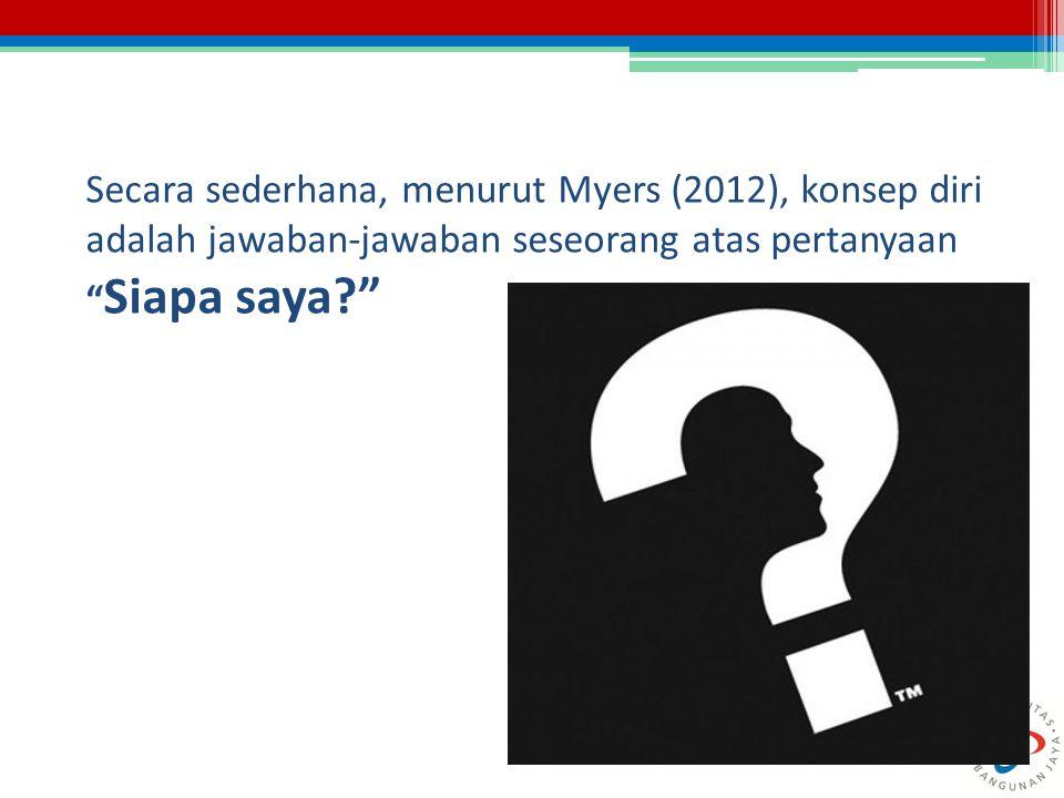 """Secara sederhana, menurut Myers (2012), konsep diri adalah jawaban-jawaban seseorang atas pertanyaan """" Siapa saya?"""""""