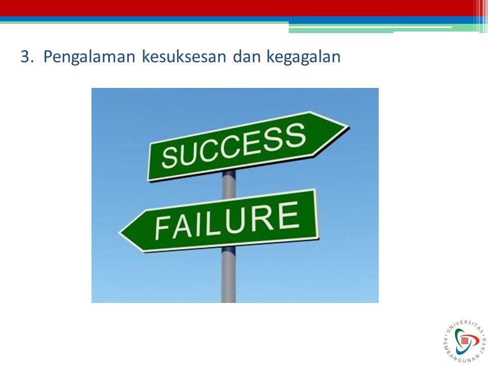 3. Pengalaman kesuksesan dan kegagalan