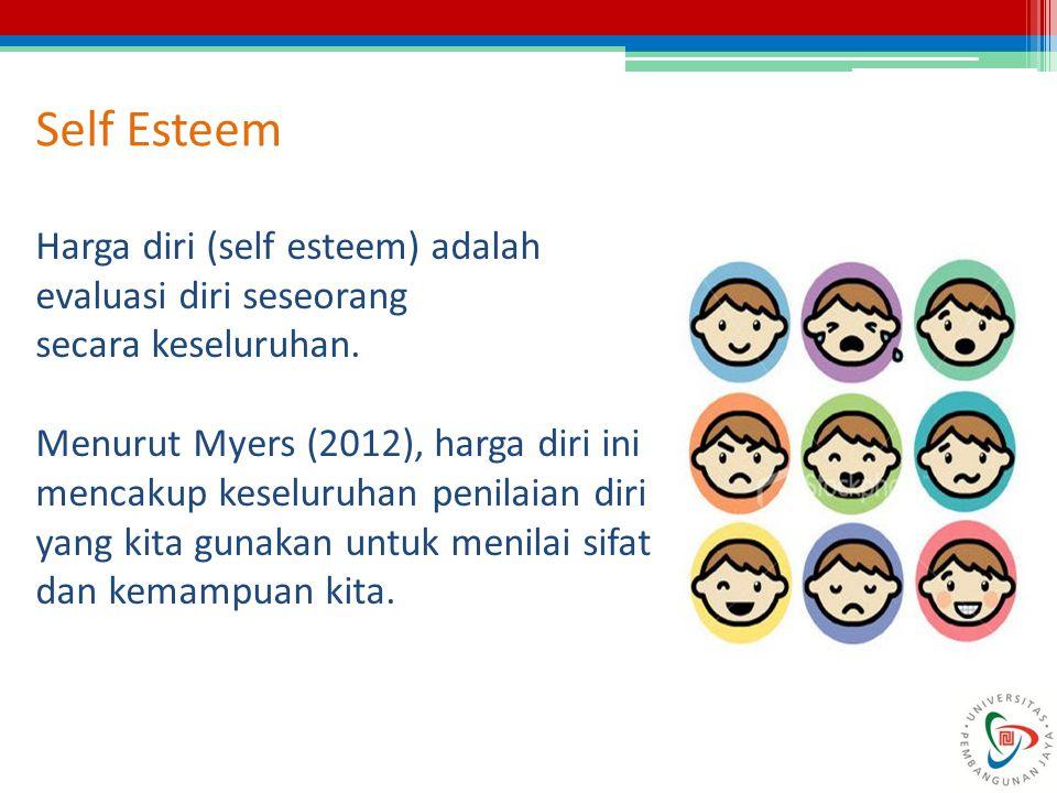 Self Esteem Harga diri (self esteem) adalah evaluasi diri seseorang secara keseluruhan. Menurut Myers (2012), harga diri ini mencakup keseluruhan peni