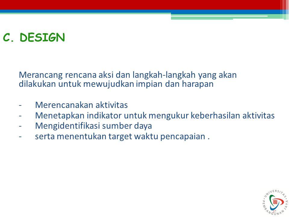 37 C. DESIGN Merancang rencana aksi dan langkah-langkah yang akan dilakukan untuk mewujudkan impian dan harapan -Merencanakan aktivitas -Menetapkan in