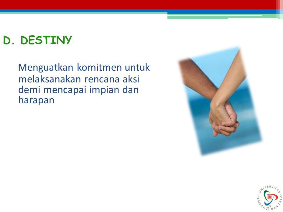 38 D. DESTINY Menguatkan komitmen untuk melaksanakan rencana aksi demi mencapai impian dan harapan