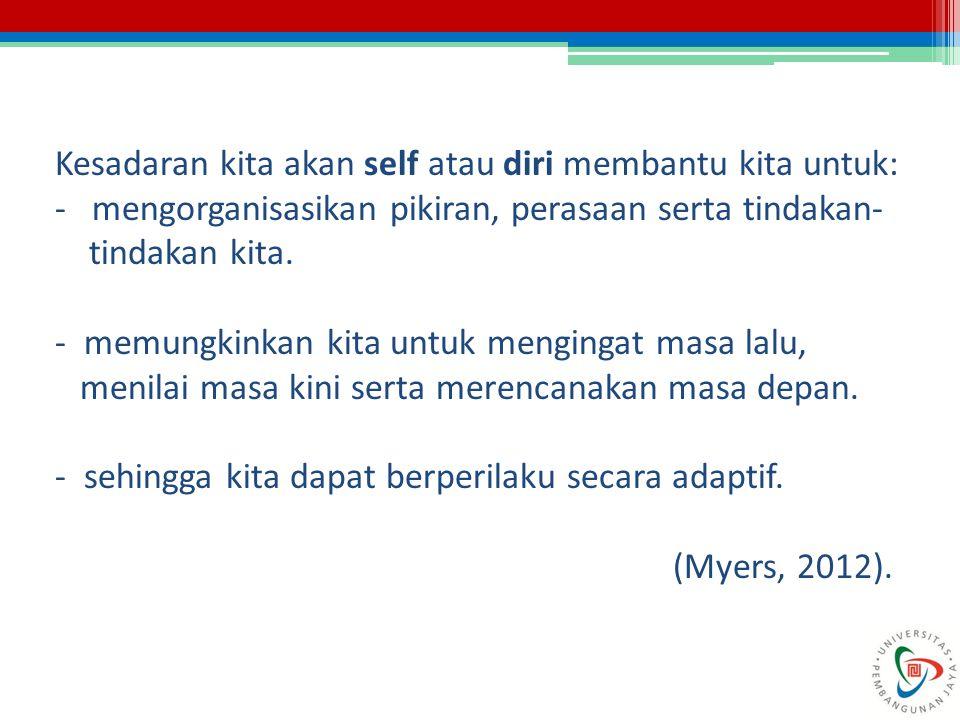 Kesadaran kita akan self atau diri membantu kita untuk: - mengorganisasikan pikiran, perasaan serta tindakan- tindakan kita. - memungkinkan kita untuk