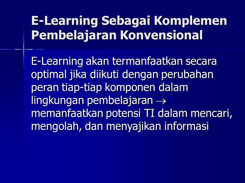 E-Learning Sebagai Komplemen Pembelajaran Konvensional E-Learning akan termanfaatkan secara optimal jika diikuti dengan perubahan peran tiap-tiap komponen dalam lingkungan pembelajaran  memanfaatkan potensi TI dalam mencari, mengolah, dan menyajikan informasi