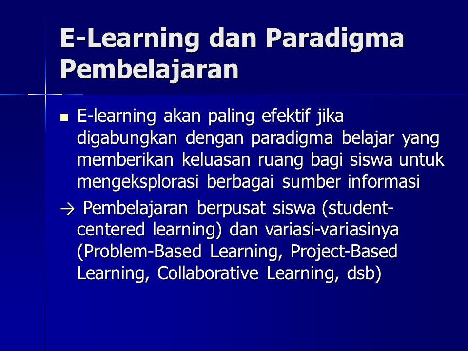E-Learning dan Paradigma Pembelajaran E-learning akan paling efektif jika digabungkan dengan paradigma belajar yang memberikan keluasan ruang bagi siswa untuk mengeksplorasi berbagai sumber informasi E-learning akan paling efektif jika digabungkan dengan paradigma belajar yang memberikan keluasan ruang bagi siswa untuk mengeksplorasi berbagai sumber informasi → Pembelajaran berpusat siswa (student- centered learning) dan variasi-variasinya (Problem-Based Learning, Project-Based Learning, Collaborative Learning, dsb)