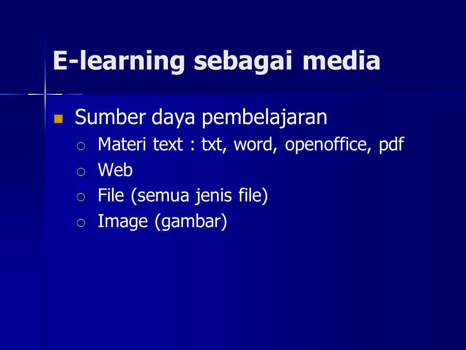 E-learning sebagai media Sumber daya pembelajaran  Materi text : txt, word, openoffice, pdf  Web  File (semua jenis file)  Image (gambar)
