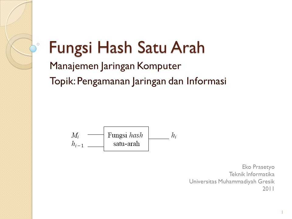 Fungsi Hash Satu Arah Manajemen Jaringan Komputer Topik: Pengamanan Jaringan dan Informasi Eko Prasetyo Teknik Informatika Universitas Muhammadiyah Gr