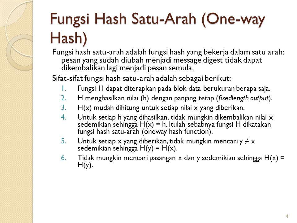 Fungsi Hash Satu-Arah (One-way Hash) Fungsi hash satu-arah adalah fungsi hash yang bekerja dalam satu arah: pesan yang sudah diubah menjadi message di