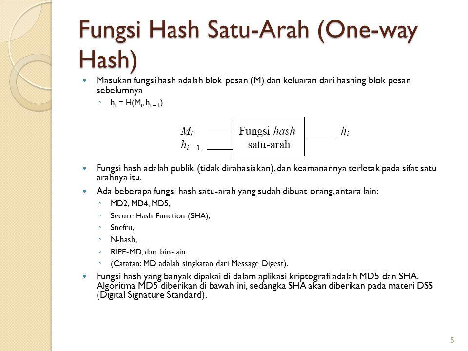 Fungsi Hash Satu-Arah (One-way Hash) Masukan fungsi hash adalah blok pesan (M) dan keluaran dari hashing blok pesan sebelumnya ◦ h i = H(M i, h i – 1
