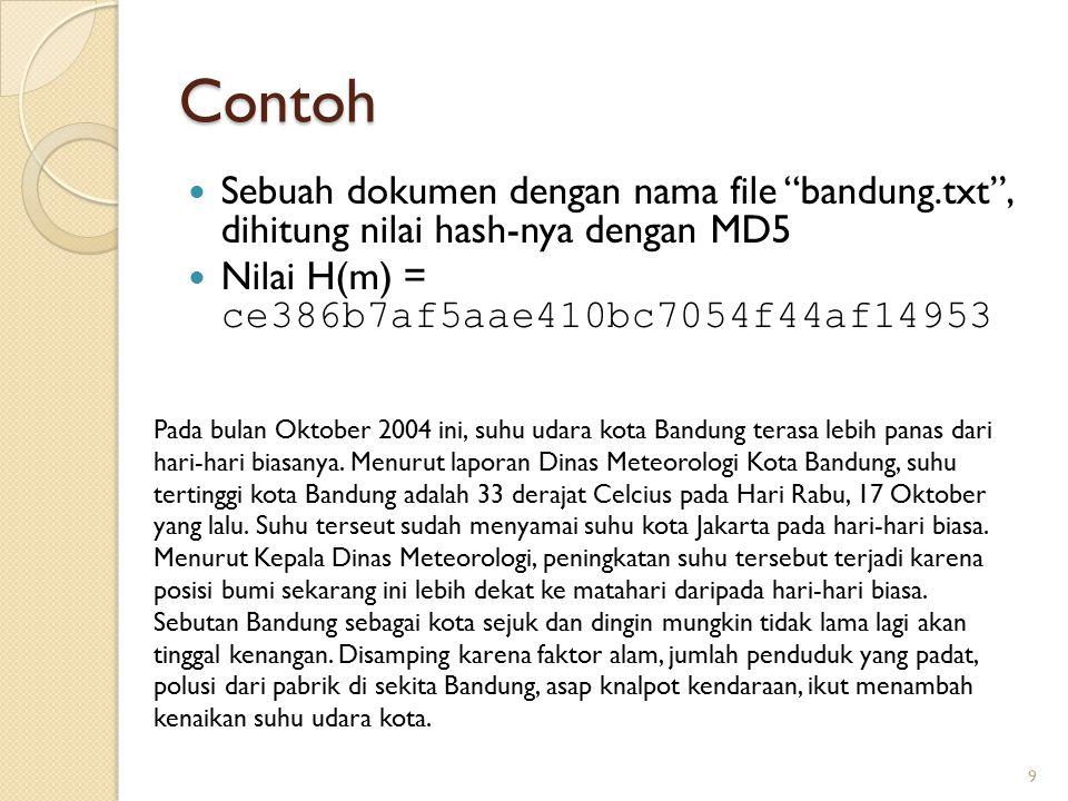 """Contoh Sebuah dokumen dengan nama file """"bandung.txt"""", dihitung nilai hash-nya dengan MD5 Nilai H(m) = ce386b7af5aae410bc7054f44af14953 9 Pada bulan Ok"""