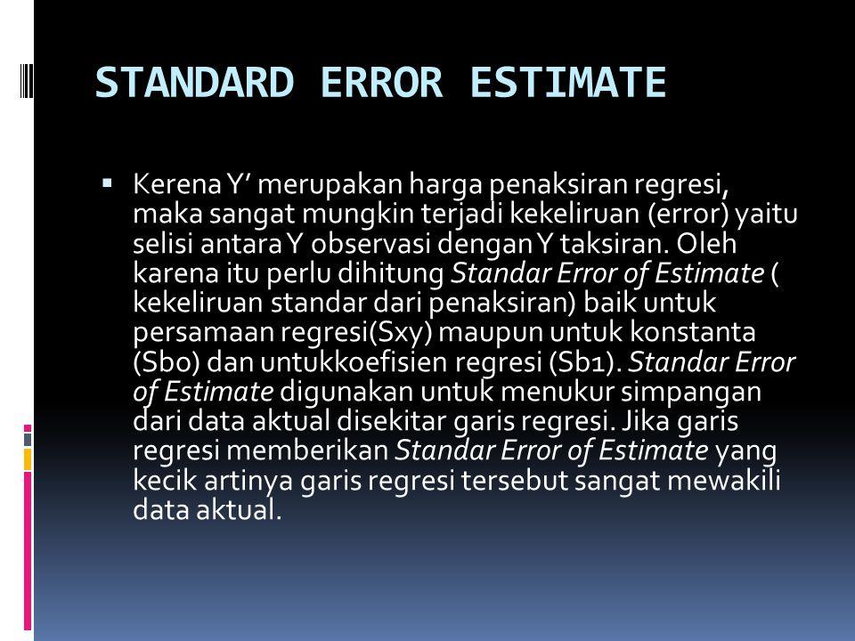 STANDARD ERROR ESTIMATE  Kerena Y' merupakan harga penaksiran regresi, maka sangat mungkin terjadi kekeliruan (error) yaitu selisi antara Y observasi dengan Y taksiran.