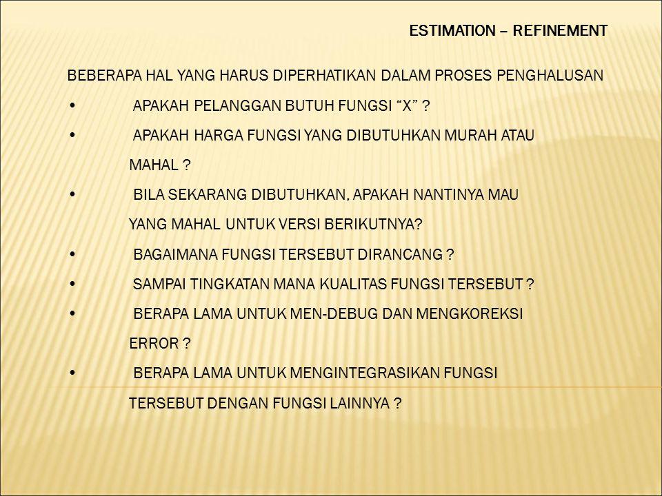 ESTIMATION – REFINEMENT BEBERAPA HAL YANG HARUS DIPERHATIKAN DALAM PROSES PENGHALUSAN APAKAH PELANGGAN BUTUH FUNGSI X .