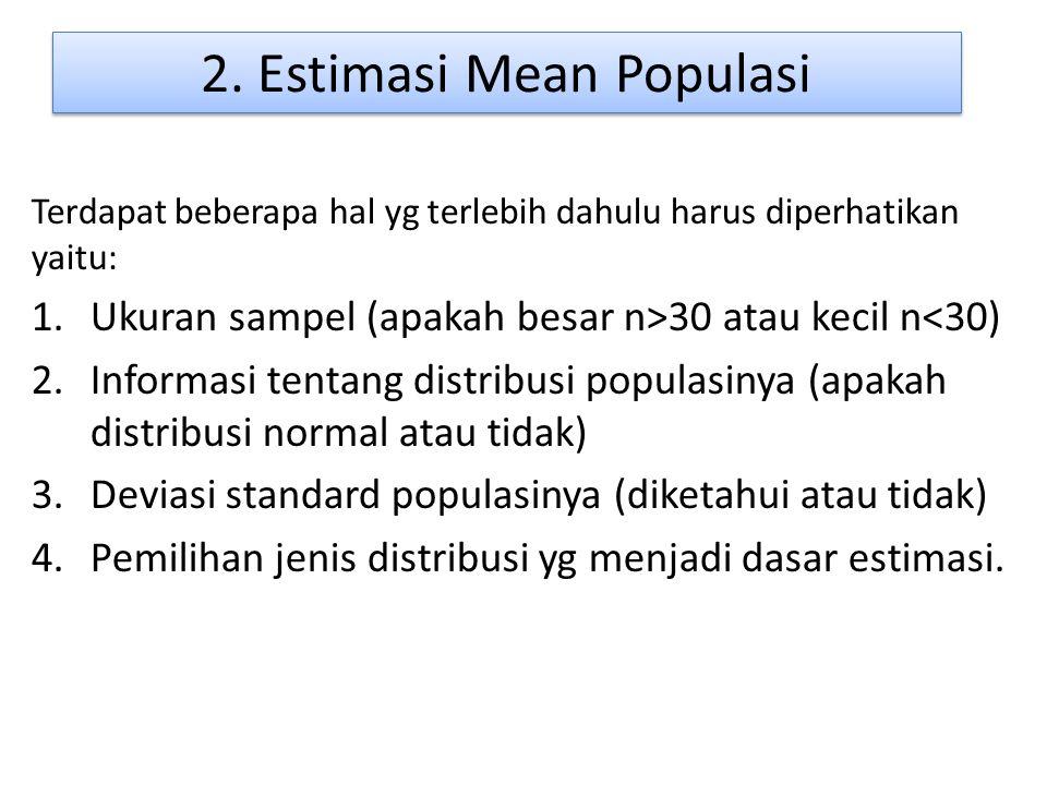 2. Estimasi Mean Populasi Terdapat beberapa hal yg terlebih dahulu harus diperhatikan yaitu: 1.Ukuran sampel (apakah besar n>30 atau kecil n<30) 2.Inf