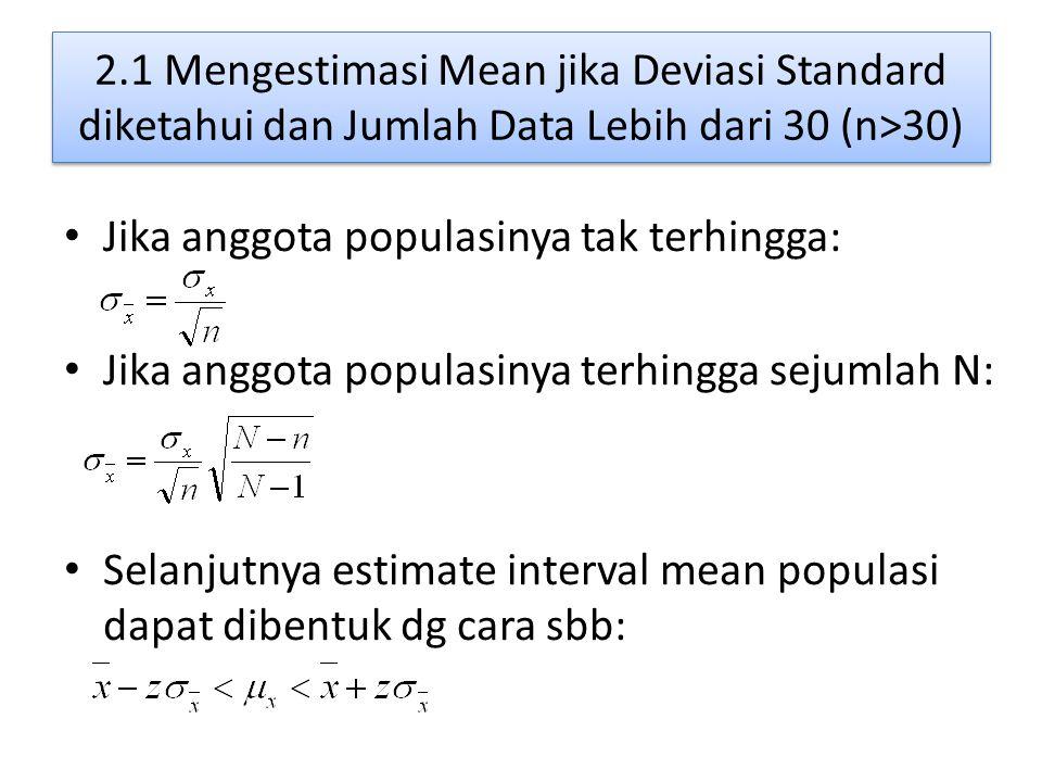 2.1 Mengestimasi Mean jika Deviasi Standard diketahui dan Jumlah Data Lebih dari 30 (n>30) Jika anggota populasinya tak terhingga: Jika anggota populasinya terhingga sejumlah N: Selanjutnya estimate interval mean populasi dapat dibentuk dg cara sbb: