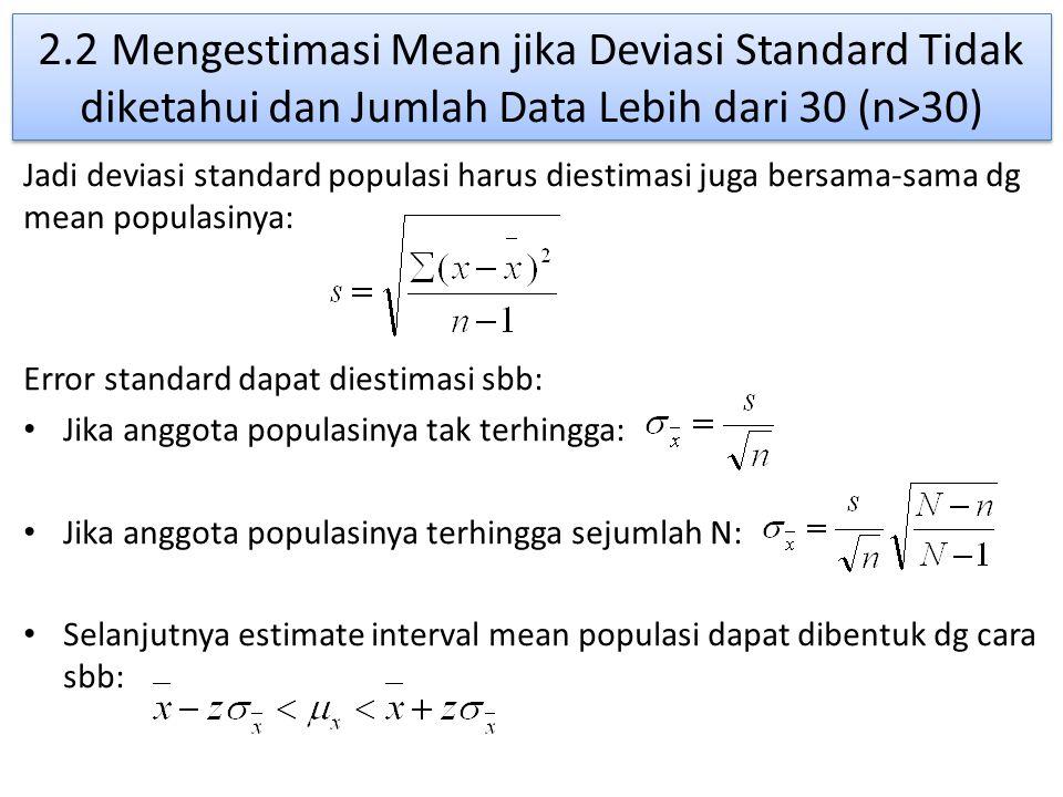 2.2 Mengestimasi Mean jika Deviasi Standard Tidak diketahui dan Jumlah Data Lebih dari 30 (n>30) Jadi deviasi standard populasi harus diestimasi juga