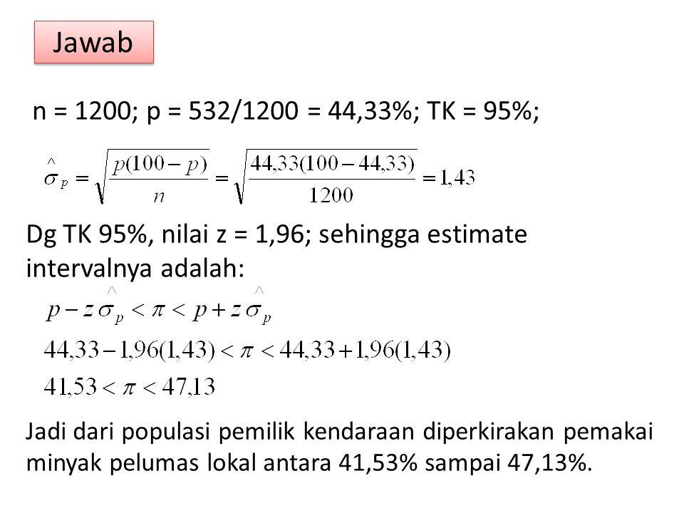 Jawab n = 1200; p = 532/1200 = 44,33%; TK = 95%; Dg TK 95%, nilai z = 1,96; sehingga estimate intervalnya adalah: Jadi dari populasi pemilik kendaraan diperkirakan pemakai minyak pelumas lokal antara 41,53% sampai 47,13%.
