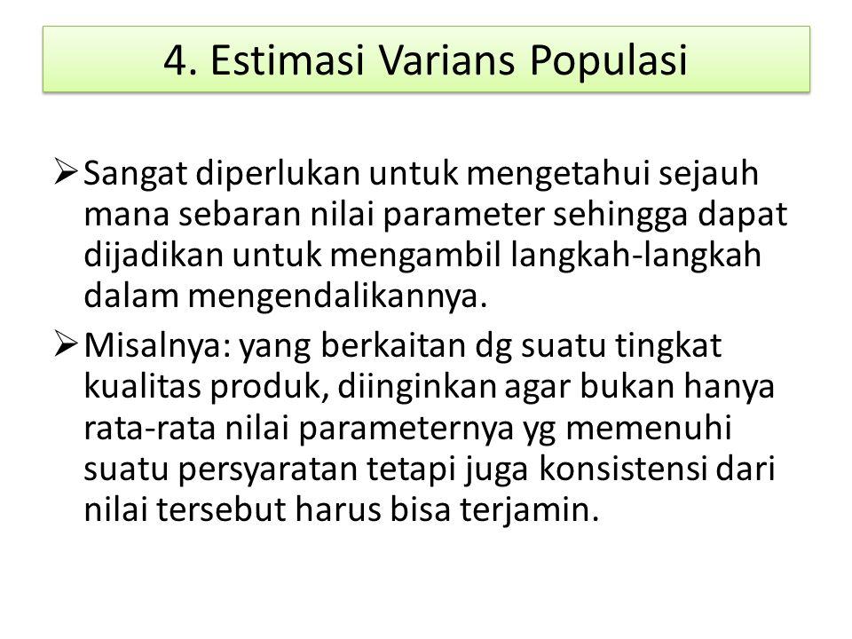 4. Estimasi Varians Populasi  Sangat diperlukan untuk mengetahui sejauh mana sebaran nilai parameter sehingga dapat dijadikan untuk mengambil langkah