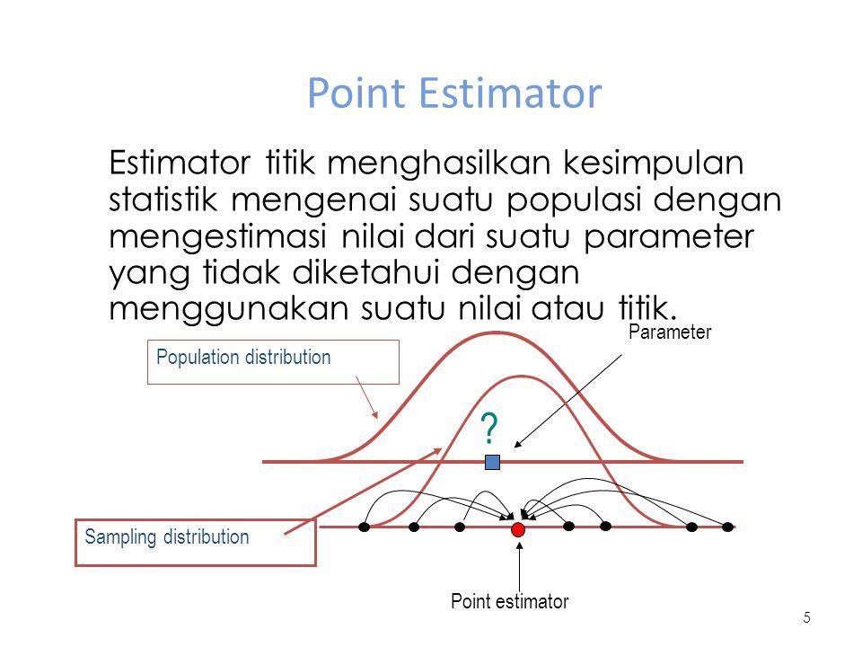 Point Estimator 5 Population distribution Parameter ? Sampling distribution Estimator titik menghasilkan kesimpulan statistik mengenai suatu populasi