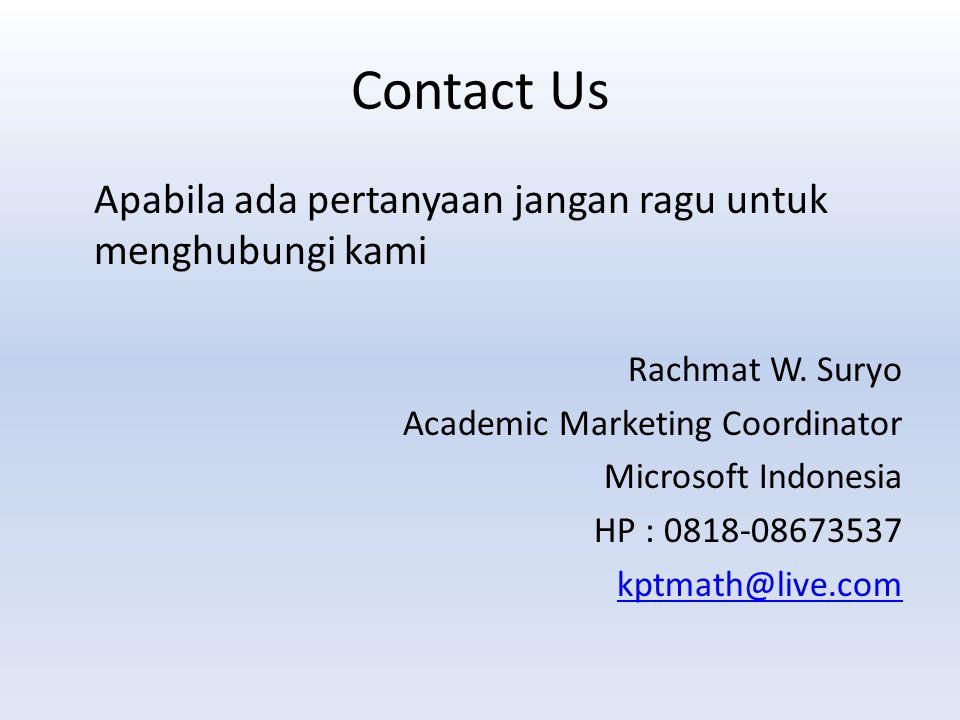 Contact Us Apabila ada pertanyaan jangan ragu untuk menghubungi kami Rachmat W.