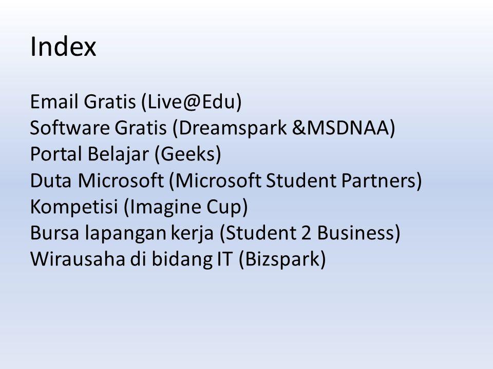 Email Gratis (Live@Edu) Software Gratis (Dreamspark &MSDNAA) Portal Belajar (Geeks) Duta Microsoft (Microsoft Student Partners) Kompetisi (Imagine Cup) Bursa lapangan kerja (Student 2 Business) Wirausaha di bidang IT (Bizspark) Index
