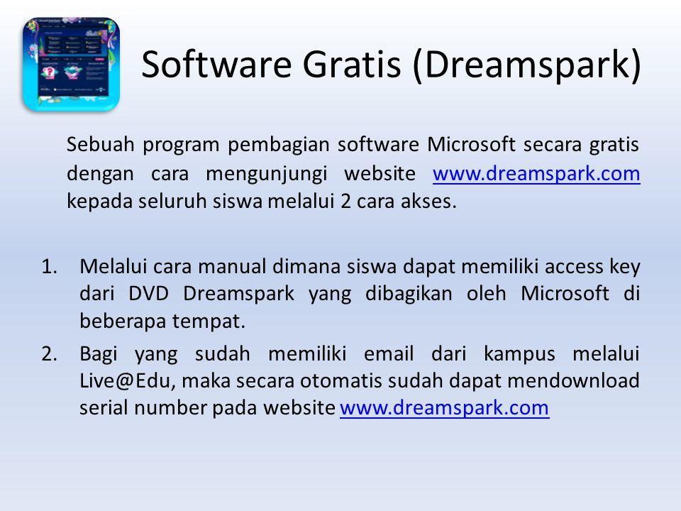 Software Gratis (Dreamspark) Sebuah program pembagian software Microsoft secara gratis dengan cara mengunjungi website www.dreamspark.com kepada seluruh siswa melalui 2 cara akses.www.dreamspark.com 1.Melalui cara manual dimana siswa dapat memiliki access key dari DVD Dreamspark yang dibagikan oleh Microsoft di beberapa tempat.