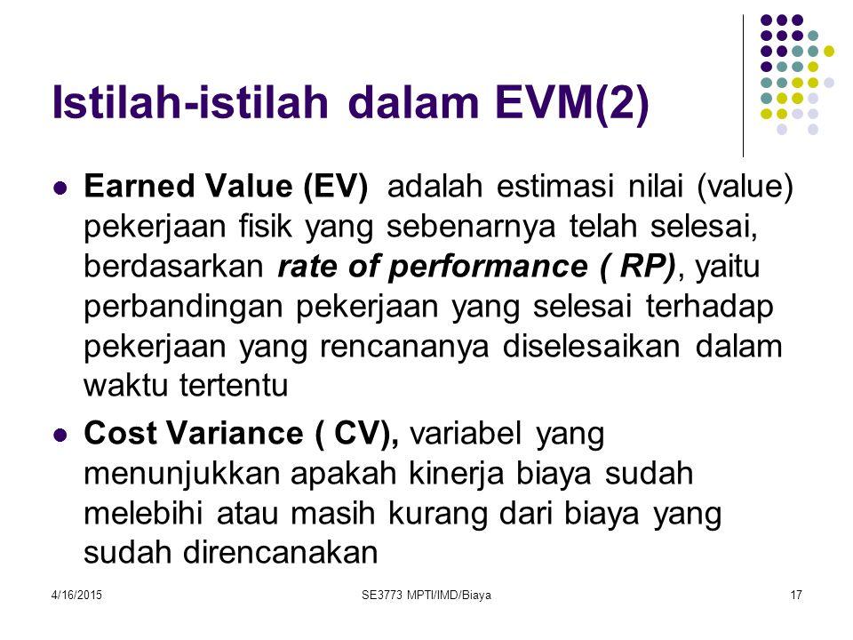 Istilah-istilah dalam EVM(2) Earned Value (EV) adalah estimasi nilai (value) pekerjaan fisik yang sebenarnya telah selesai, berdasarkan rate of perfor