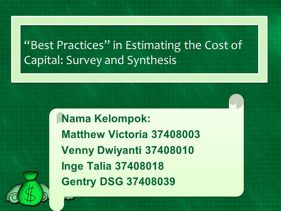 Joanna Cohen's Analysis A.Single atau Multiple Cost of Capital .