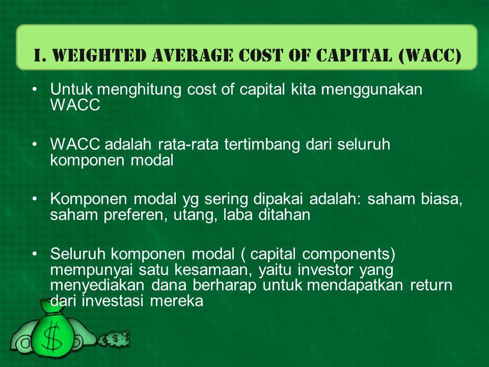 Weighted Average Cost of Capital (WACC) WACC = w d.k d (1-T)+w ps.k ps +w s.( k s atau k e ) k d = biaya hutang k ps = biaya saham preferen k s = biaya laba ditahan k e = biaya saham biasa baru T = pajak