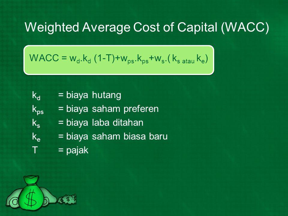 Hal-hal yang diperhatikan dalam perhitungan WACC 1.Capital cost yang ada menunjukkan kondisi pasar saat ini bukan historical.