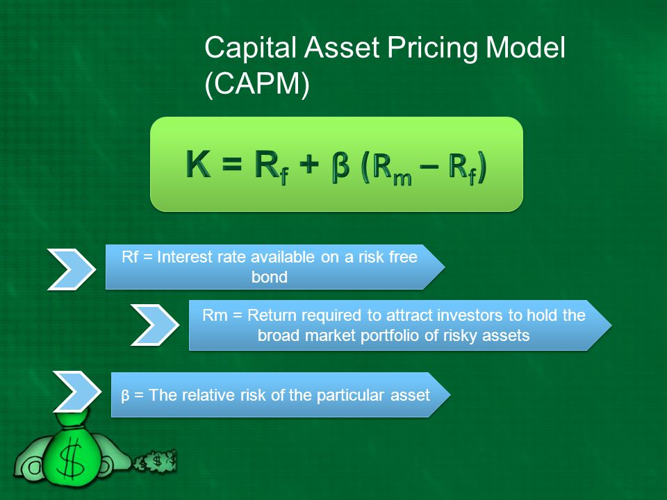 Risk free rate of return Choice of a risk free rate can have a material effect on the cost of equity and WACC Long term bond yields more closely reflect default free holding period returns available on long lived investments and thus more closely mirror the types of investments made by companies