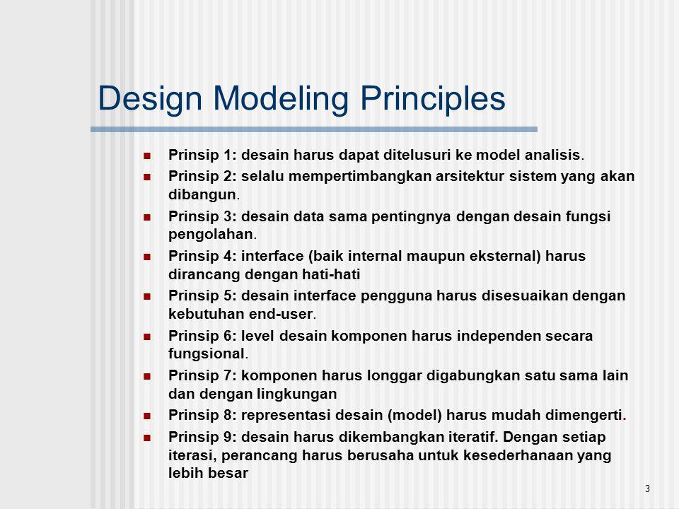 3 Design Modeling Principles Prinsip 1: desain harus dapat ditelusuri ke model analisis. Prinsip 2: selalu mempertimbangkan arsitektur sistem yang aka