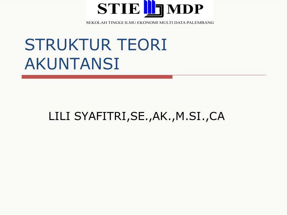 STRUKTUR TEORI AKUNTANSI LILI SYAFITRI,SE.,AK.,M.SI.,CA