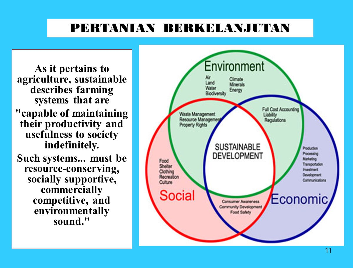 11 PERTANIAN BERKELANJUTAN As it pertains to agriculture, sustainable describes farming systems that are
