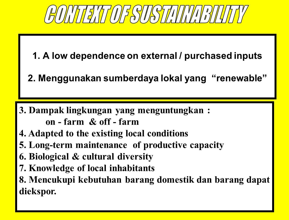 """47 1. A low dependence on external / purchased inputs 2. Menggunakan sumberdaya lokal yang """"renewable"""" 3. Dampak lingkungan yang menguntungkan : on -"""