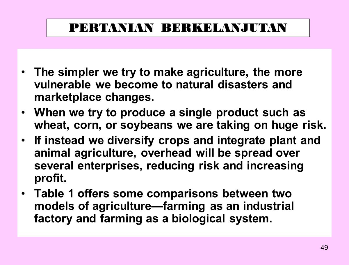 49 The simpler we try to make agriculture, the more vulnerable we become to natural disasters and marketplace changes. When we try to produce a single