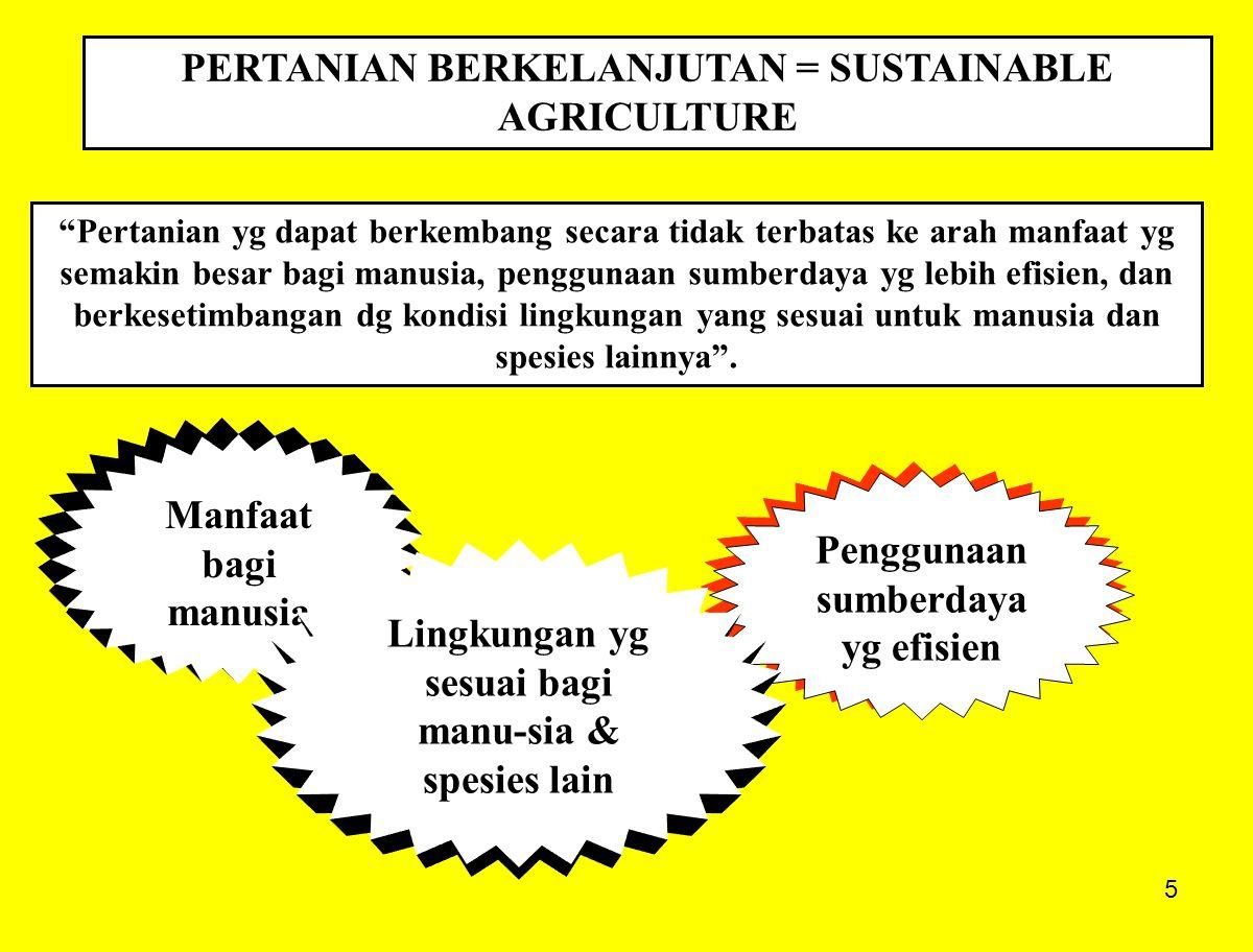 5 PERTANIAN BERKELANJUTAN = SUSTAINABLE AGRICULTURE Pertanian yg dapat berkembang secara tidak terbatas ke arah manfaat yg semakin besar bagi manusia, penggunaan sumberdaya yg lebih efisien, dan berkesetimbangan dg kondisi lingkungan yang sesuai untuk manusia dan spesies lainnya .