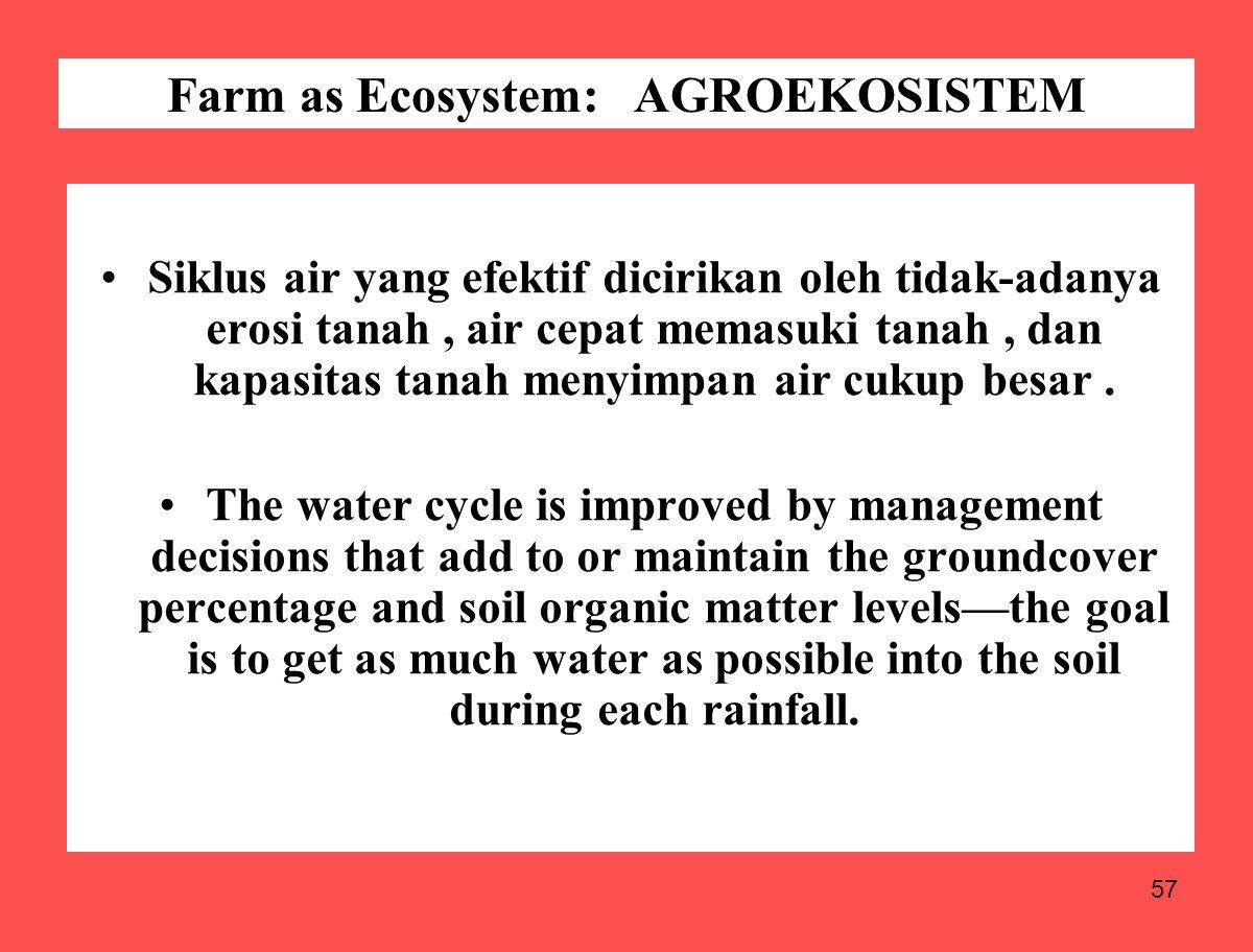 57 Siklus air yang efektif dicirikan oleh tidak-adanya erosi tanah, air cepat memasuki tanah, dan kapasitas tanah menyimpan air cukup besar. The water