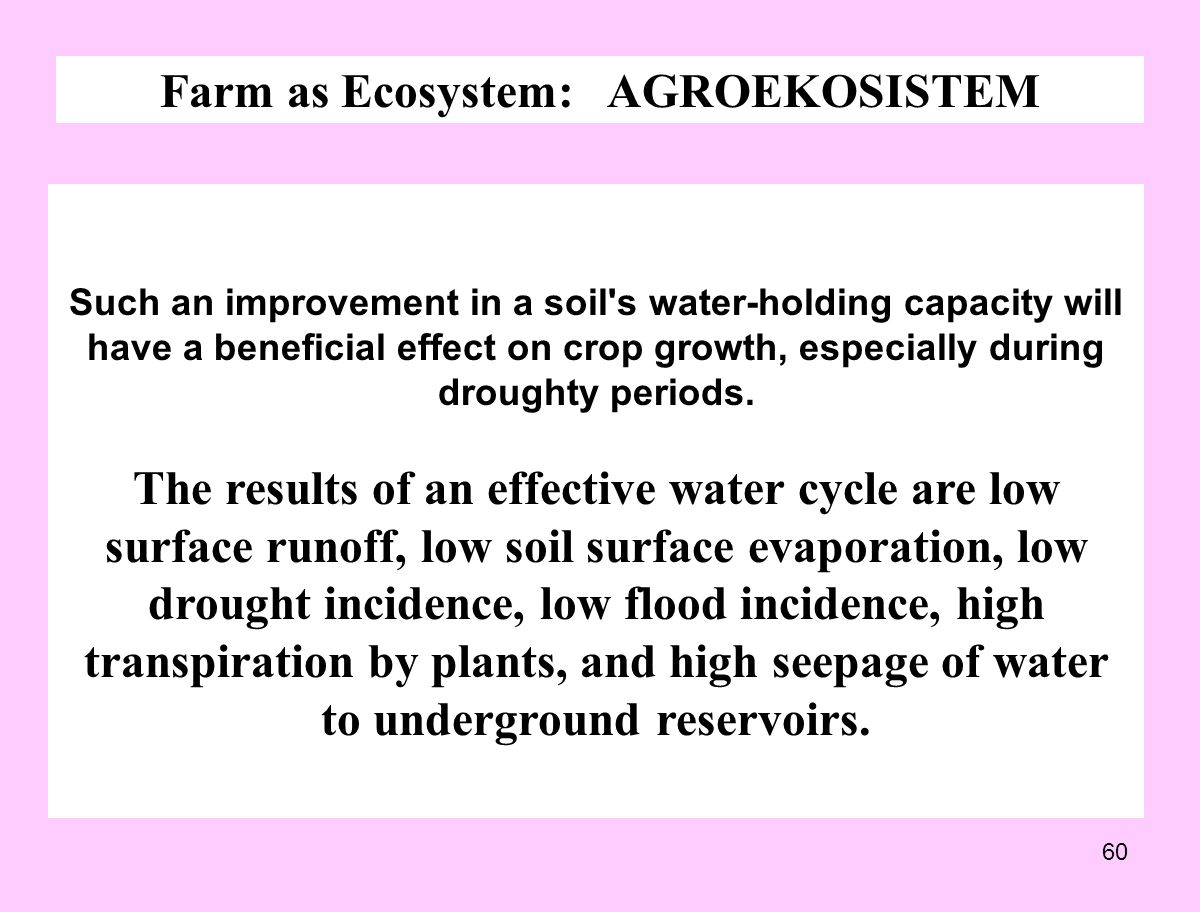 60 Farm as Ecosystem: AGROEKOSISTEM Such an improvement in a soil's water-holding capacity will have a beneficial effect on crop growth, especially du