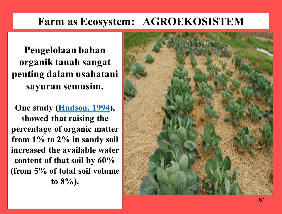 61 Pengelolaan bahan organik tanah sangat penting dalam usahatani sayuran semusim. One study (Hudson, 1994), showed that raising the percentage of org
