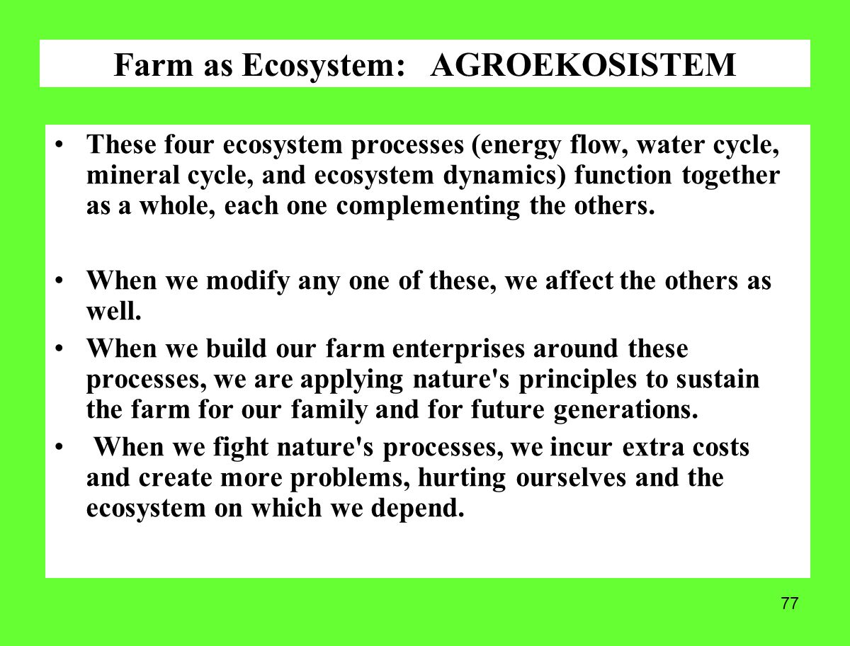 77 These four ecosystem processes (energy flow, water cycle, mineral cycle, and ecosystem dynamics) function together as a whole, each one complementi