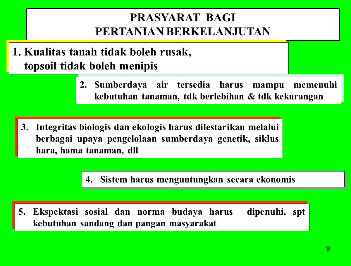 80 Menjaga permukaan tanah selalu tertutup vegetasi sepanjang tahun PENERAPAN PRINSIP EKOSISTEM Under natural conditions the soil remains covered with a skin of dead plant material, which prevents and moderates temperature extremes, increases water penetration and storage, and enhances soil aeration.